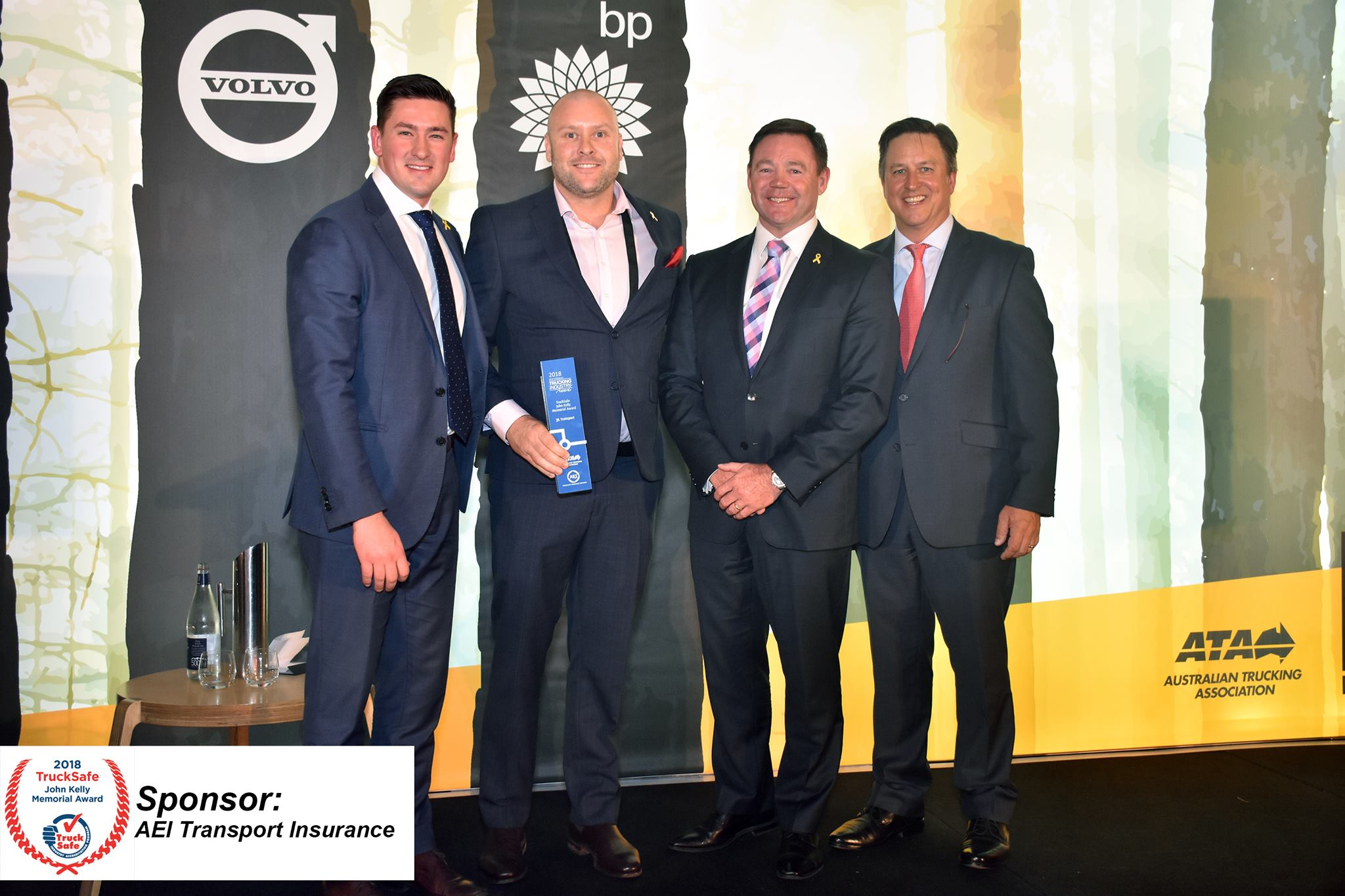 Winner of the TruckSafe John Kelly Memorial Award JJ Lawson Transport, with Noel Kelly and Tim Wedlock of AEI Transport Brokers and ATA CEO Ben Maguire